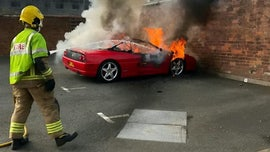 Fire engulfs Ferrari left in parking lot