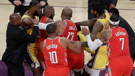 Fight in LeBron's home Los Angeles Lakers debut, 124-115 loss to Houston Rockets