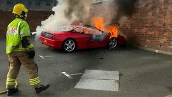 Fire engulfs Ferrari left in parking lot