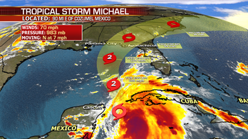 Tropical Storm Michael moves into the Gulf of Mexico today