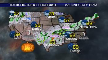 Rain dampening Halloween activities across the country, heavy snowfall across Colorado mountains