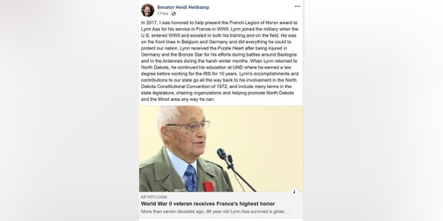Heitkmap wrote in a now-deleted Facebook post about her encounter with Lynn Aas, a World War II veteran, she met last year when helping to present him the Legion of Honor by France for his service during the war.