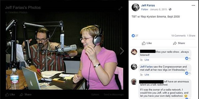 In 2015, Jeff Farias (left) posted a picture from 2005 featuring Kyrsten Sinema (right) and himself in a radio studio, adding in the comments that he saw her recently.