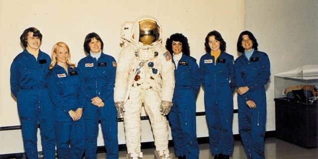 Shannon W. Lucid, Margaret Rhea Seddon, Kathryn D. Sullivan, Judith A. Resnik, Anna L. Fisher, and Sally K. Ride.