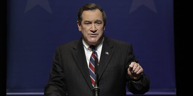 Democratic Sen. Joe Donnelly speaks during a U.S. Senate Debate against Republican former state Rep. Mike Braun and Libertarian Lucy Brenton, Tuesday, Oct. 30, 2018, in Indianapolis. (AP Photo/Darron Cummings, Pool)