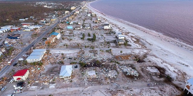 Damaged homes seen here in Mexico Beach, Fla.
