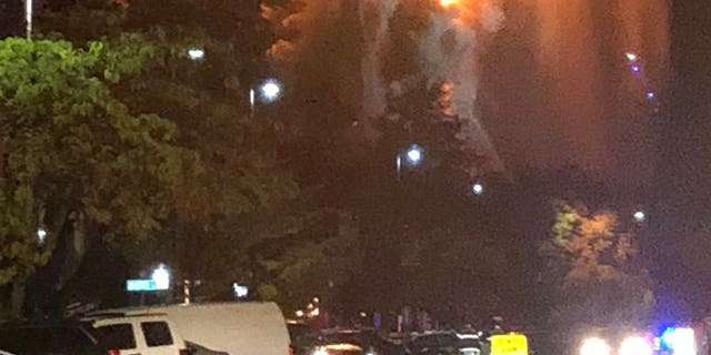 The First Baptist Church in Wakefield, Massachusetts caught fire Tuesday nightafter lightning reportedly struck the building.