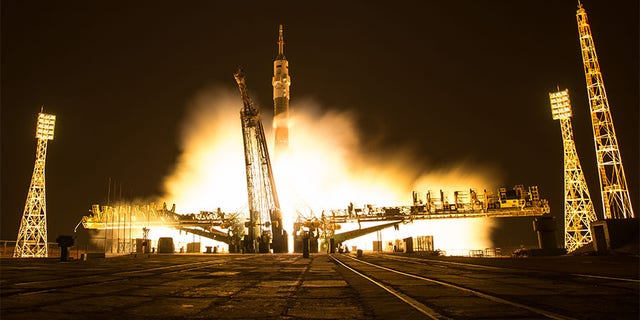 In this one second exposure photograph, the Soyuz MS-03 spacecraft is seen launching from the Baikonur Cosmodrome with Expedition 50 crewmembers NASA astronaut Peggy Whitson, Russian cosmonaut Oleg Novitskiy of Roscosmos, and ESA astronaut Thomas Pesquet from the Baikonur Cosmodrome in Kazakhstan, Friday, Nov. 18, 2016.