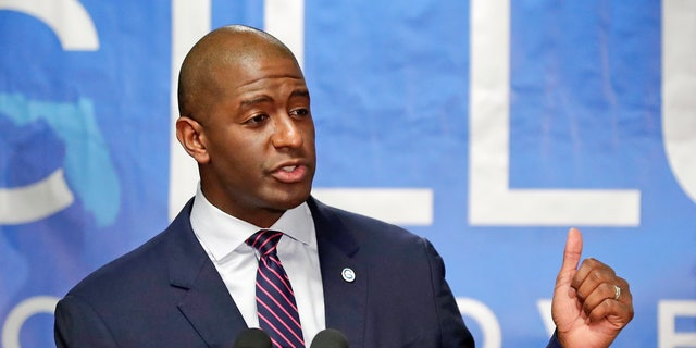 Florida Democratic gubernatorial candidate Andrew Gillum speaks to supporters after he was endorsed by Puerto Rico Gov. Ricardo Rossello during a campaign rally on Oct. 1 in Kissimmee, (AP Photo/John Raoux, File)