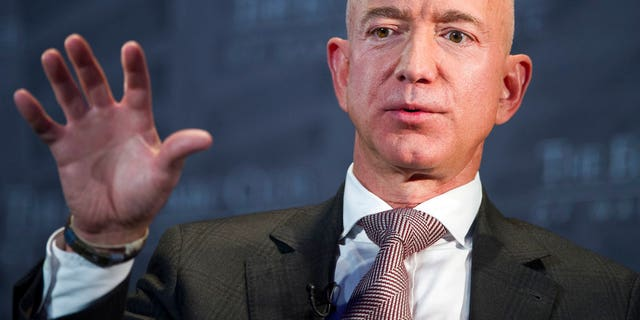 Jeff Bezos, Amazon owner and CEO, speaks during a Economic Club of Washington's Milestone Celebration in Washington.