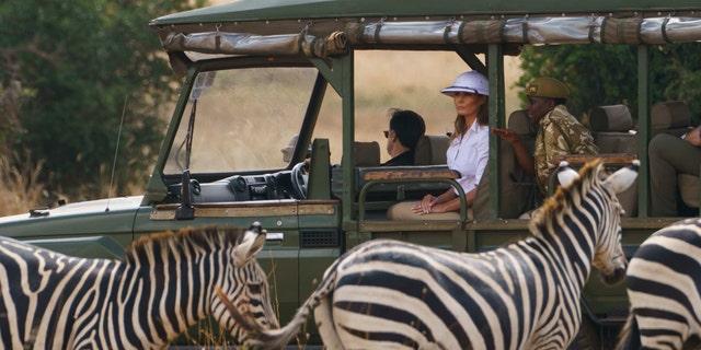First lady Melania Trump observes zebras during a safari at Nairobi National Park in Kenya. (AP Photo/Carolyn Kaster)