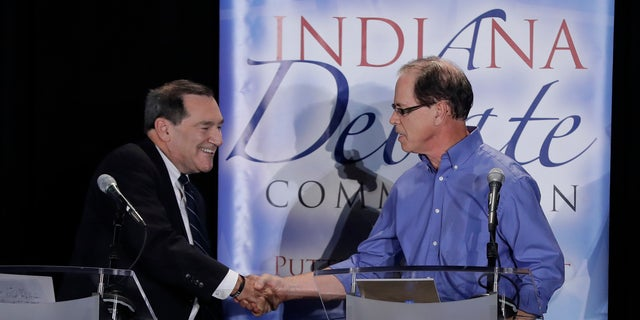 Incumbent Sen. Joe Donnelly has often criticized Republican nominee Mike Braun (right) for his company's use of foreign workers and imports.