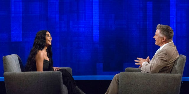 "Host Alec Baldwin, right, speaking with Kim Kardashian during an appearance on ""The Alec Baldwin Show."""