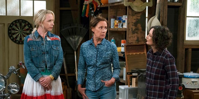 "Lecy Goranson, Laurie Metcalf and Sara Gilbert in a scene from ""The Conners."""