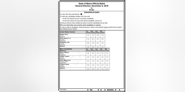 This image released by the Maine Office of Secretary of State shows a sample ballot for some of the offices up for election in the state's November general election. The ballot offers voters ranked choices for placing their vote using the new system in the November general election.