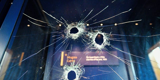 Hammer holes in the glass case that housed the Magna Carta, at Salisbury Cathedral after a 45-year-old man has been arrested on suspicion of its attempted theft, in Salisbury, England. (Ben Birchall/PA via AP)