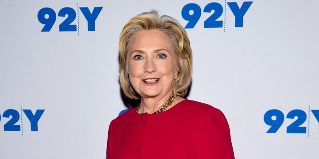 Former first lady of the United States Hillary Rodham Clinton poses backstage before her conversation with Kara Swisher at the 92nd Street Y on Friday, Oct. 26, 2018, in New York.