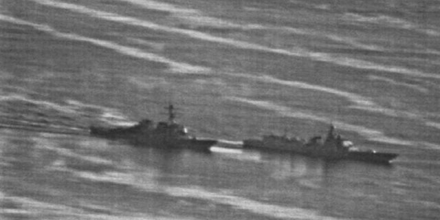 This U.S. Navy photo, first obtained by gcaptain.com, shows the incident between the USS Decatur, left, and the Luoyang.