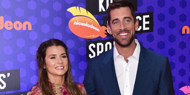Aaron Rodgers and ex-girlfriend Danica Patrick.