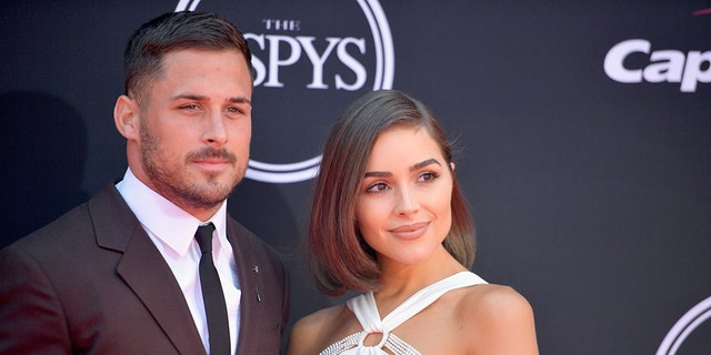 NFL actor Danny Amendola and indication Olivia Culpo attend The 2017 ESPYS during Microsoft Theater on Jul 12, 2017 in Los Angeles, Calif.