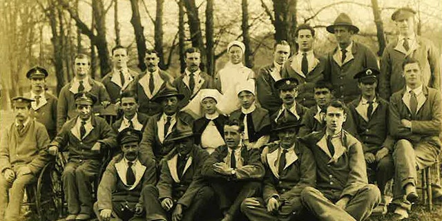 Private Leslie Friston is third from the left in the middle row of this picture. (The Royal British Legion)