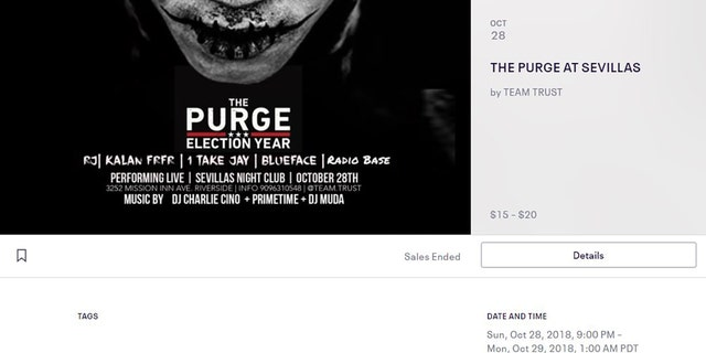 An invitation from 'The Purge' party at a Riverside, Calif., nightclub.