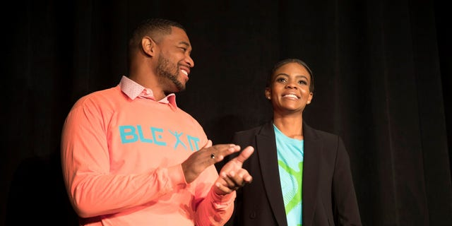Turning Point USA director of urban engagement Brandon Tatum (left) with communications director Candace Owens (right). (Christopher Howard/Fox News).