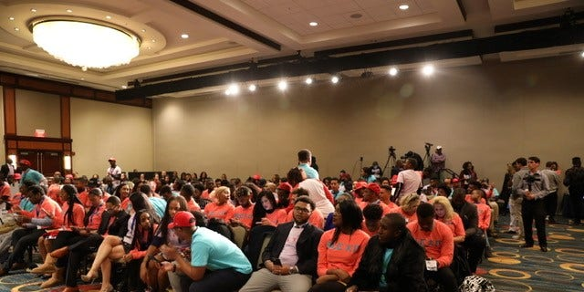 """Attendees of the Blexit announcement await the """"Black State of the Union"""" speech delivered by Candace Owens, as she announced """"Blexit."""" (Christopher Howard/Fox News)."""