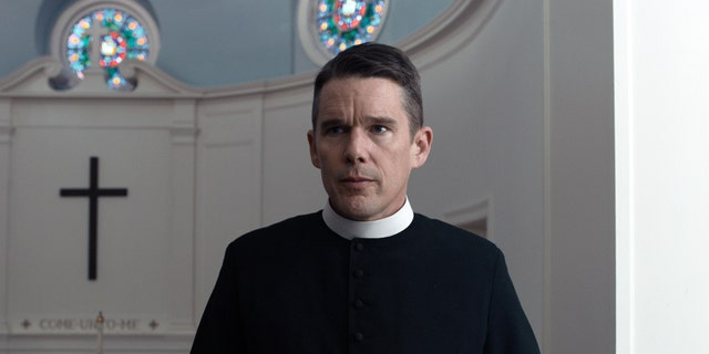 "Ethan Hawke is featured in a scene from ""First Reformed,"" Paul Schrader's religious thriller."