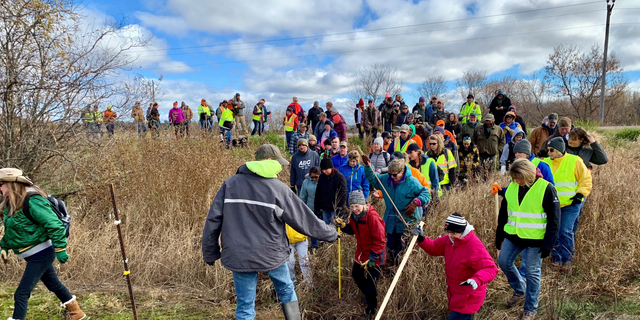 Volunteers cross a creek and barbed wire near Barron, Wis., Tuesday, Oct. 23, 2018, on their way to a ground search for 13-year-old Jayme Closs who was discovered missing Oct. 15 after her parents were found fatally shot at their home. The search for Closs was expanded Tuesday, with as many as 2,000 volunteers expected to take part in a search of the area. (AP Photo/Jeff Baenen)