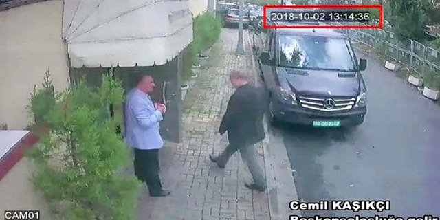 This image taken from surveillance video claims to show Saudi journalist Jamal Khashoggi entering the Saudi consulate in Istanbul on Oct. 2. He has not been seen or heard from since.