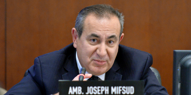 This Nov. 12, 2014 photo made available by the Organization of American States shows Maltese academic Joseph Mifsud during a meeting in Washington. It was Mifsud who allegedly dropped the first hint that the Russians were interfering into the 2016 U.S. presidential election. (Juan Manuel Herrera/OAS via AP)