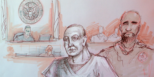 In this courtroom sketch, Cesar Sayoc, left, appears in federal court, Monday, Oct. 29, 2018, in Miami. Sayoc is accused of sending pipe bombs to prominent Democrats around the country. A judge will hold a hearing Friday on whether Sayoc can be released on bail. (Daniel Pontet via AP)