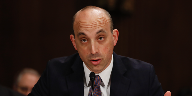 FILE - In this May 2, 2017 file photo Jonathan Greenblatt, CEO and National Director of the Anti-Defamation League, speaks on Capitol Hill in Washington. Far-right extremists have ramped up an intimidating wave of anti-Semitic harassment against Jewish journalists, political candidates and others ahead of next month's U.S. midterm elections, according to a report released Friday, Oct. 26, 2018  by the Anti-Defamation League. (AP Photo/Carolyn Kaster, File)