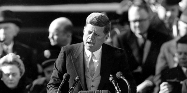 In this Jan. 20, 1961 file photo, President John F. Kennedy delivers his inaugural address after taking the oath of office on Capitol Hill in Washington. (AP Photo/File)