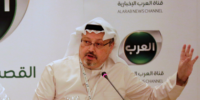 Jamal Khashoggi speaking during a press conference in Bahrain in 2014.