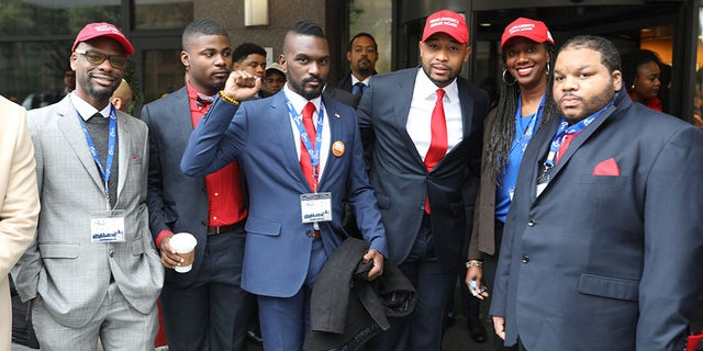 """Brandon Tatum (third from right) is Director of Urban Engagementat Turning Point USA, and he told Fox News that the YBLS is symbolic for black voters. """"YBLS is important because it gives anexample to this country that black voters are not monoliths and think for ourselves,"""" said Tatum."""