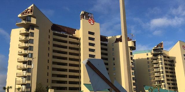 Damage to beachfront condominiums in Panama City Beach, Fla. from Hurricane Michael