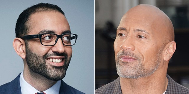 """CNN media reporter Oliver Darcy (left) and Dwayne """"The Rock"""" Johnson (right)."""
