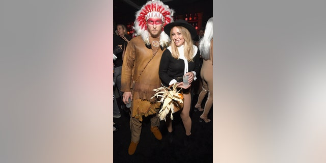 Hilary Duff and ex-boyfriend Jason Walsh attended the Casamigos Halloween Party at a private residence on Oct. 28, 2016 in Beverly Hills, Calif. wearing Thanksgiving-themed costumes. (Michael Kovac/Getty Images for Casamigos Tequila)