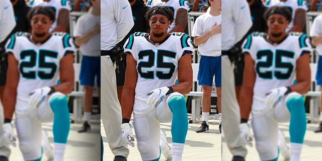 Carolina Panthers  Eric Reid (25) kneels during the national anthem before  an NFL ebad3e976