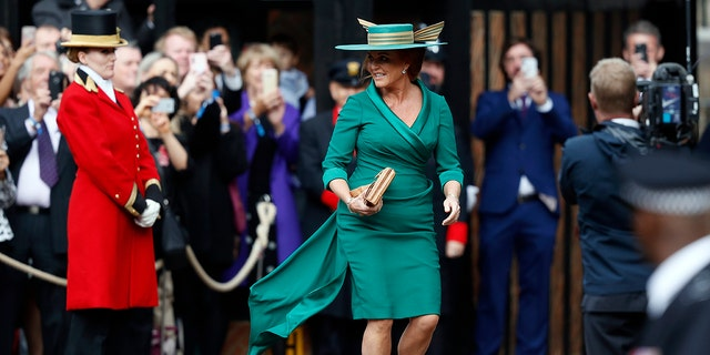 Sarah Ferguson turned heads in her strange hat.
