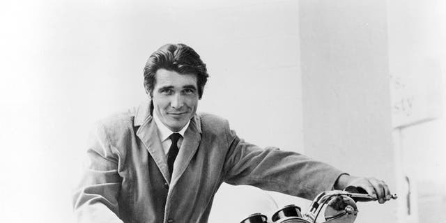 "American actor James Brolin astride a motorcycle, as Dr. Steven Kiley in the US television drama ""Marcus Welby, MD"" 1969."