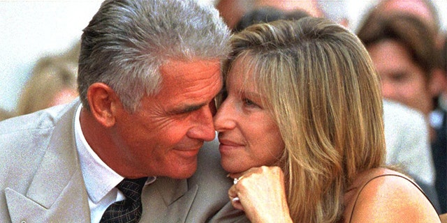 James Brolin and his singer-actress wife Barbra Streisand, 74, share a tender moment during the Hollywood Walk of Fame ceremony for Brolin.