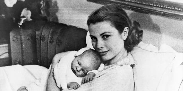 Princess Grace Kelly with her firstborn, Prince Albert.