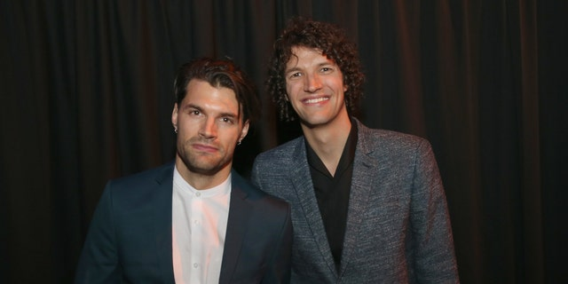 Joel David Smallbone and Luke James Smallbone of For King and Country pose with award at the 4th Annual KLOVE Fan Awards at The Grand Ole Opry House on June 5, 2016 in Nashville, Tennessee.