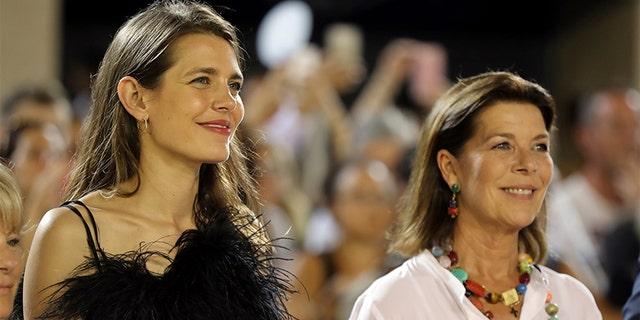 Charlotte Casiraghi (L) and Princess Caroline of Hanover (R).