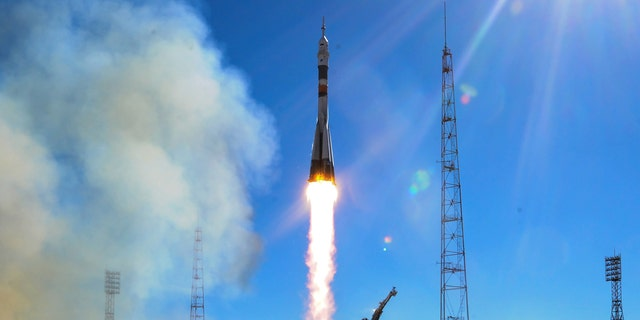 Russia's Soyuz MS-10 spacecraft blasts off from the launch pad at the Russian-leased Baikonur Cosmodrome in Baikonur on October 11, 2018.