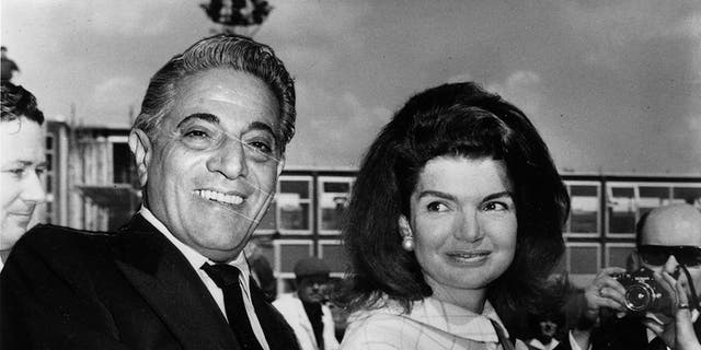 Millionaire shipping magnate Aristotle Onassis with his wife Jackie. Getty