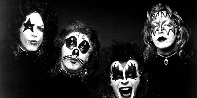 (L-R) Paul Stanley, Peter Criss, Gene Simmons and Ace Frehley of the rock 'n' roll band KISS pose for a portrait for the cover of their self-entitled first album, which was released on February 18, 1974.